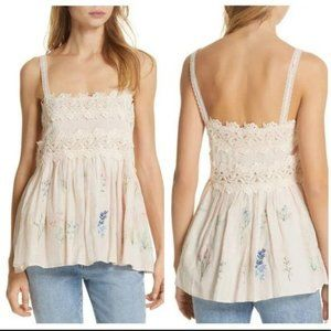 Love Sam Daisy Embroidered Camisole Tank Top Small